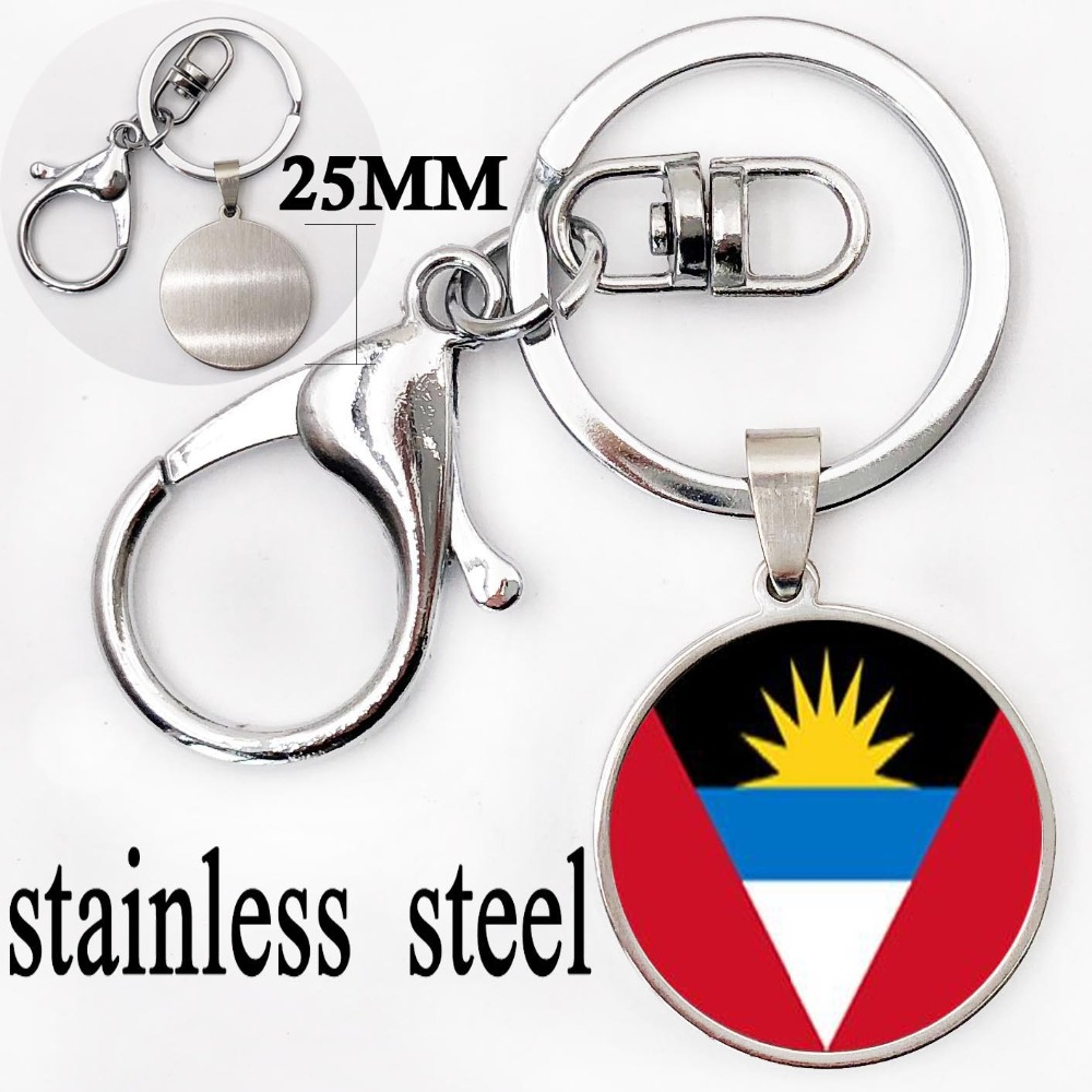 Trendy Flag Art Picture Key Ring Antigua and BarbudaAndorra Flag CarBag Key Chain Dome Glass Keychain Jewellery