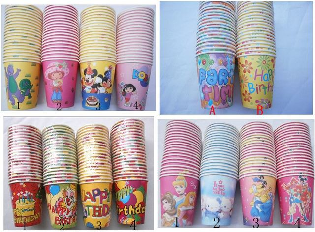 1000 pieces Happy Birthday Paper Cup for Birthday Party Kids