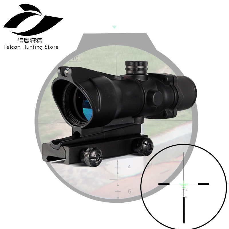 Tactical Riflescope 4X32 Hunting Real Optical Fiber Scope Red Green Glass Etched BDC or Chevron Reticle Sights 4x32 hunting real optical fiber scope red green glass etched bdc or chevron reticle sights