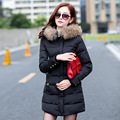 2017 New Winter Women Jackets and Coats Fur Collar Winter Coat Hooded Parkas Female Long Cotton Padded Coat Snow Jacket