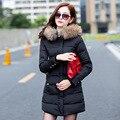 2017 Novos Inverno Mulheres Jaquetas e Casacos de Gola De Pele Casaco de Inverno Com Capuz Parkas Feminino Longo Casaco de Algodão Acolchoado Jaqueta de Neve