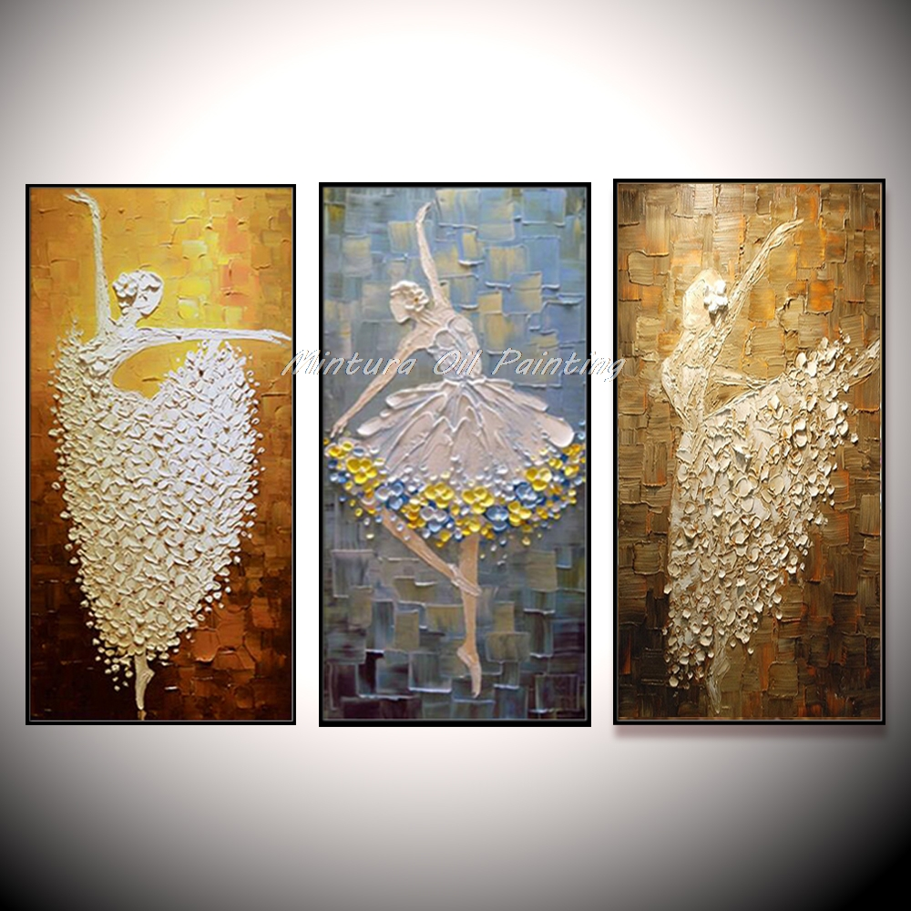 Large Pretty Ballet Dancer Hand Painted Modern Abstract Palette Knife Oil Painting On Canvas Wall Art