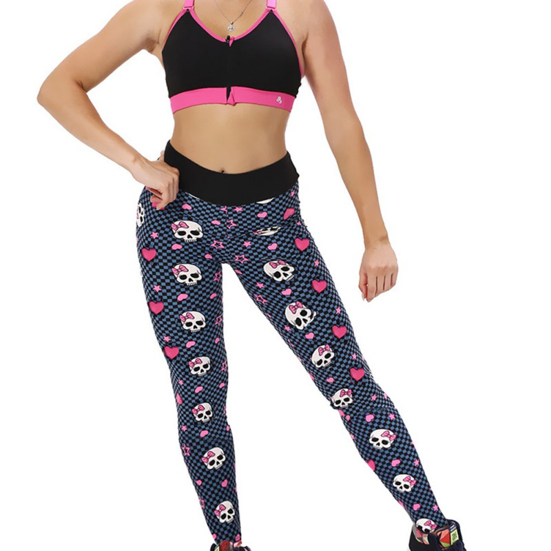 Women Sports Leggings Yoga Running Pants Workout Fitness Gym Athletic Print Skull Pants