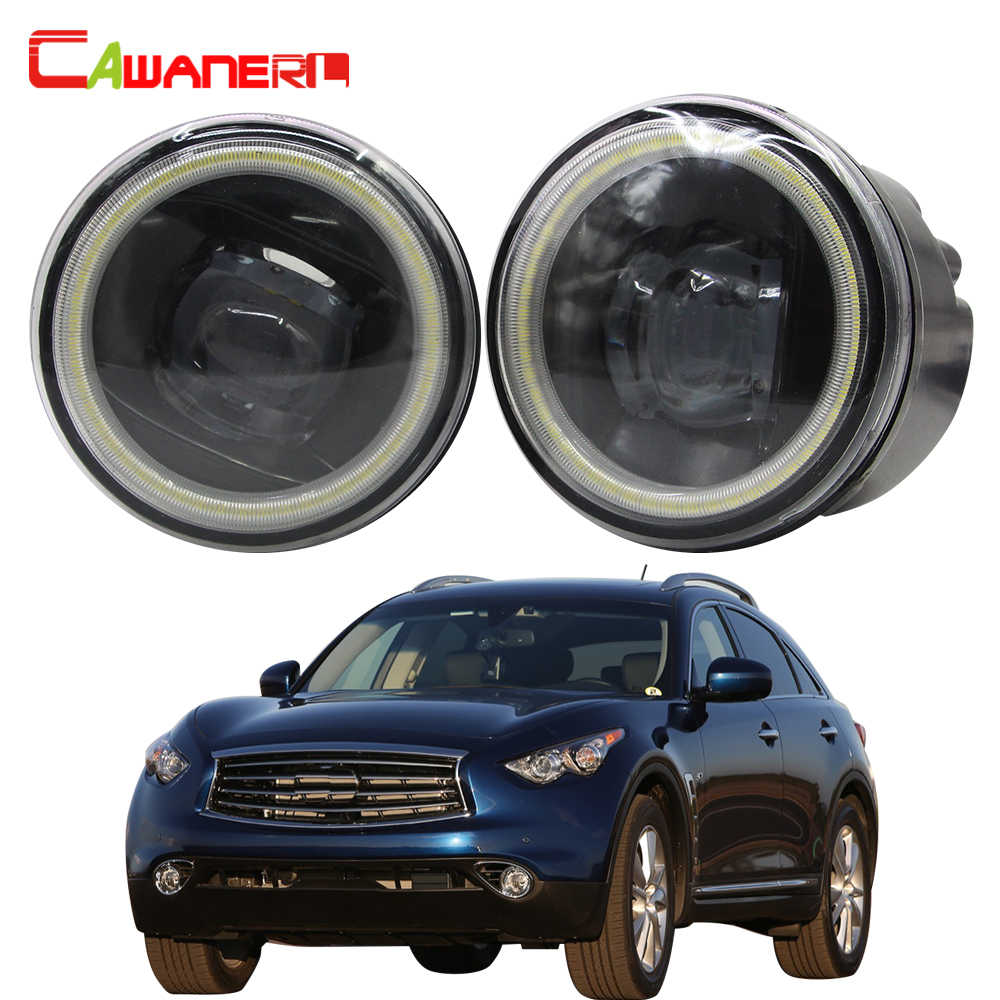 Cawanerl Car Accessories 4000LM H11 LED Fog Light Angel Eye Daytime Running Light 12V For Infiniti QX QX50 QX56 QX70 2006-2014