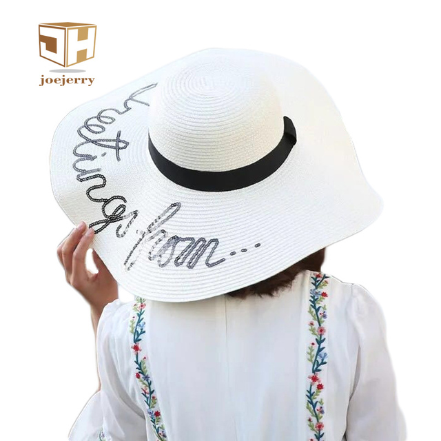 db3383712e0 joejerry Letter Straw Floppy Beach Hats Girls Summer Large Brim Sun Hats  For Women Fashion UV Sun Hat 2017 New Arrival