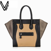 VEEVANV New Fashion Brand Ladies Smiley Tote Bags Vintage Smile Face Gold Handbags Casual Women's Handbags Leather Shoulder Bag