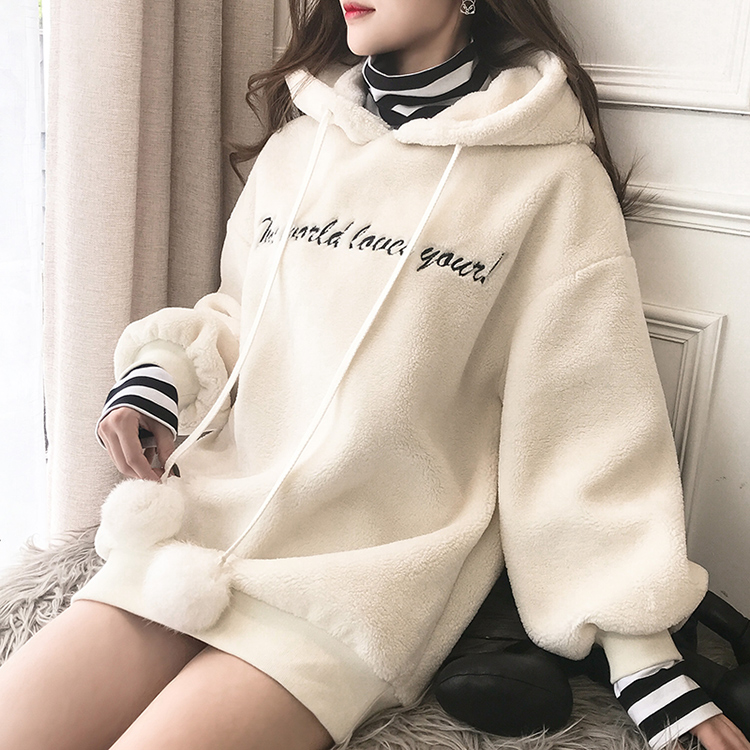 Winter new fashion women hoodie fake two pieces striped stand collar long sleeve warm lambswool fleece
