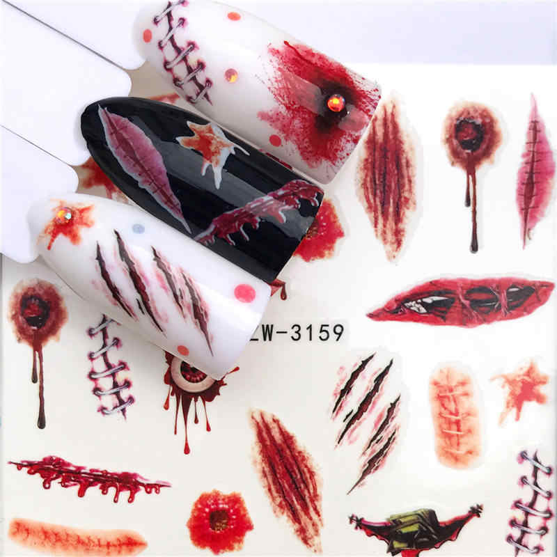 YWK 1 قطعة مسمار ملصقات الأحمر عيد الفصح ريشة المياه مائي الحيوان زهرة النبات نمط ثلاثية الأبعاد مانيكير ملصق مسمار الفن الديكور