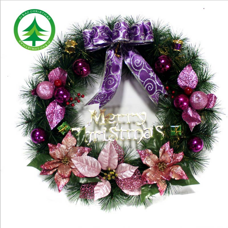1pc christmas wreath with bow handcrafted elegant holiday wreath for the front door redgoldbluepurple 4colors decorative wrea in pendant drop ornaments - Elegant Christmas Wreaths