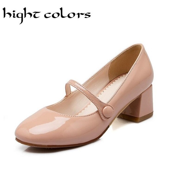 Plus Size 34 43 2018 New Shoes Ol Style Patent Leather Women Mary Jane Ankle