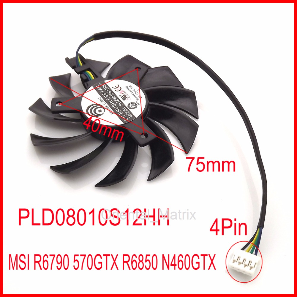 Free Shipping POWER LOGIC PLD08010S12HH 12V 0.35A 75mm For MSI R6790 570GTX R6850 N460GTX Graphics Card Cooling Fan