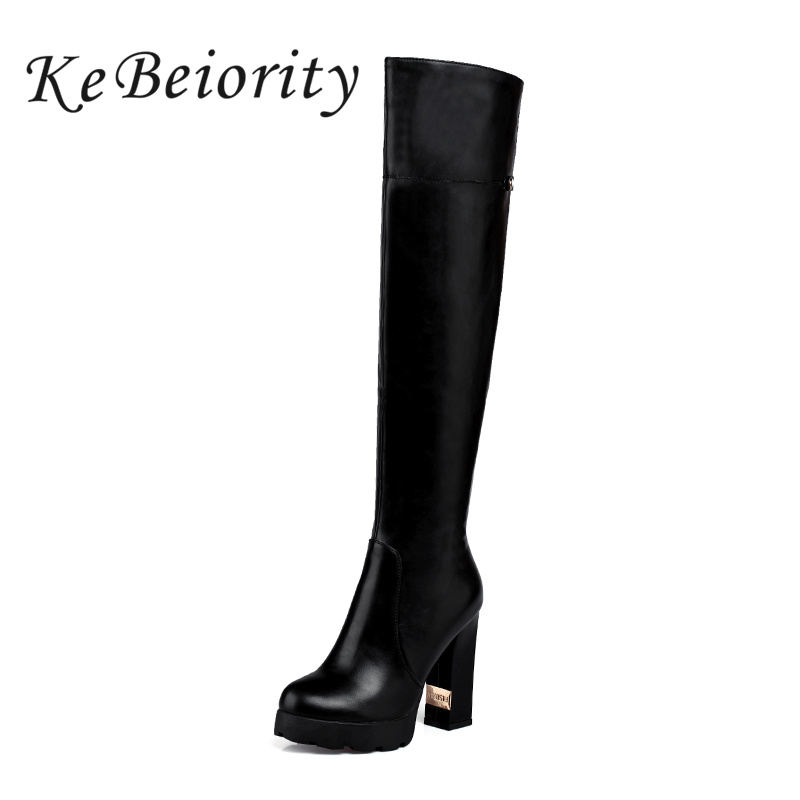 KEBEIORITY Autumn Winter Over-the-Knee Boots High Heels Platform Shoes For Woman Square Heel Black White Beige Round Toe Boots anmairon high heels lace charms shoes woman over the knee boots zippers round toe long boots size 34 39 black winter boots shoes