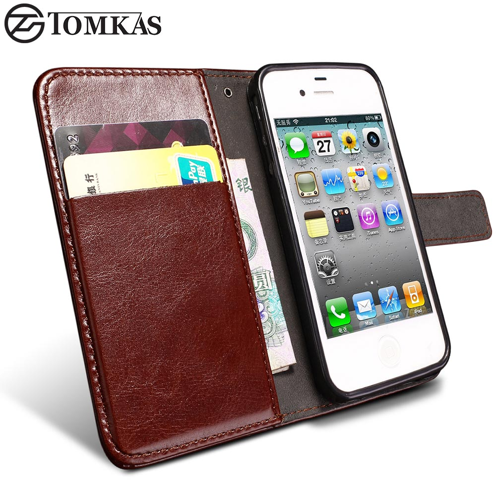 buy popular ddabf e7ef7 TOMKAS 4S Flip Wallet PU Leather Case For iPhone 4 4S Cover Vintage Coque  Phone Bag Cases For Apple ...