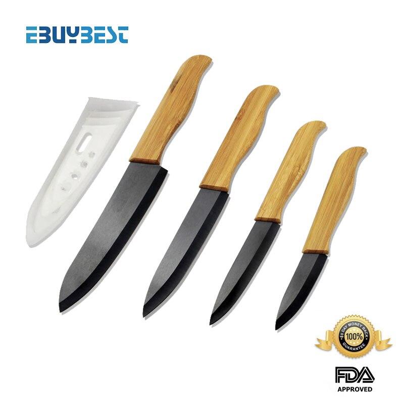 Environmental Zirconia Ceramic knife set 3 4 5 6 inch Black White Blade covers Bamboo Handle