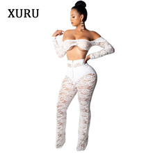 XURU Women Two Piece Set Lace Jumpsuits White Black Long Sleeve Zipper See Through Boot Cut Womens Club Sexy Jumpsuit