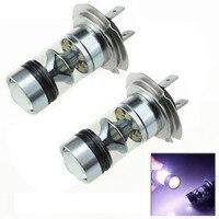 2pcs 100W H7 LED Bulb 20 SMD Cree Car Fog Light DC 12V 24V 360 Degree