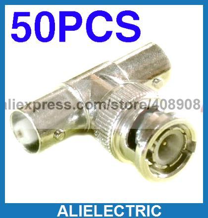 50pcs BNC Male to 2 BNC Female Socket 3 Way Connector 50pcs d203b d203 to 3 sensors