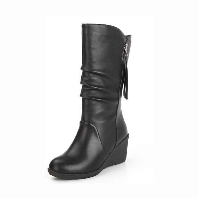 ฤดูหนาว 2019 รองเท้าบู๊ท Wedge กลางลูกวัวรองเท้าบูทรองเท้าผู้หญิงรองเท้าสีดำรองเท้าหนังรองเท้ารอบ Toe Ladies รองเท้า