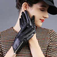 Stylish And Elegant Women'S Leather Gloves Pure Sheepskin Short Black With Zipper Gloves Lined With Silk TB48