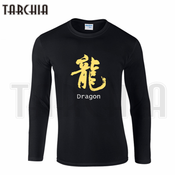 TARCHIA Free Shipping Gift Specially print Gold China Letter Dragon Men's Long Sleeve T-Shirt Cotton tee Plus Size Homme