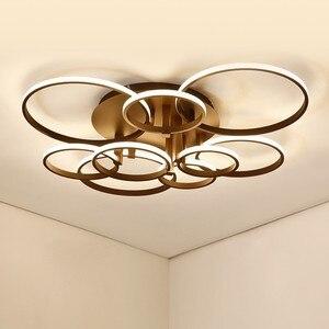 Image 5 - 現代のledシャンデリアホームリビングルーム天井器具ブラックホワイトランプとリモコンの寝室の照明光沢
