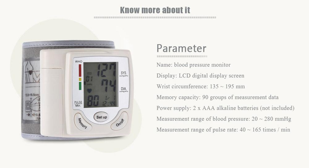Health Care Automatic Digital Wrist Cuff Blood Pressure Monitor Heart Beat Rate Arm Pulse Meter Machine Tonometer For Measuring 9