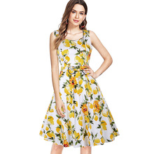 ARiby Women Summer Sweet Lemon Printed Dress 2019 New Fashion Square Collar Sleeveless Ball Gown Empire Tank Knee-Length Dress sweet square neck sleeveless circle printed dress for women
