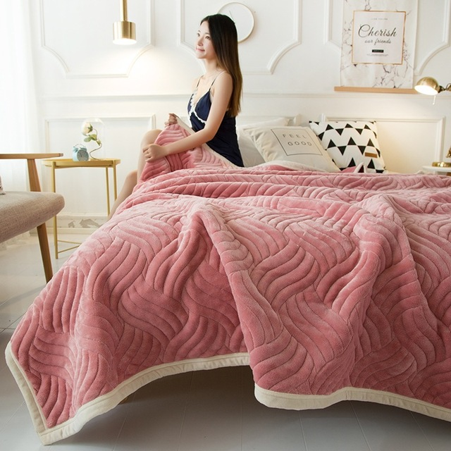 41b28b83ca 2019 patchwork blanket thicken warm bed covers double layer qulited fleece  blanket 200 230cm winter bedclothes 3D ruffle bedding
