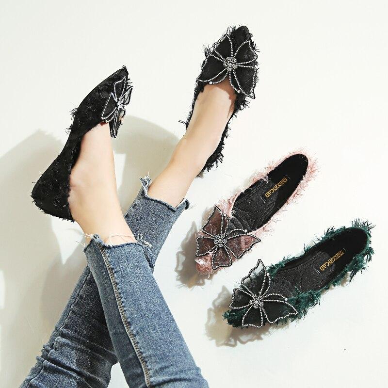 Sauvage Simples Peu Automne 3 Scoop Femelle Chaussures Petit 2 Bouche Pied Arc Frais Net Profonde 1 Rouge Un Pointu Plat XO5wqfnxf