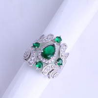 Gorgeous Green Emerald White Cubic Zirconia Silver Plated Ring For Wedding J0571 Free Shipping Jewelry Bag
