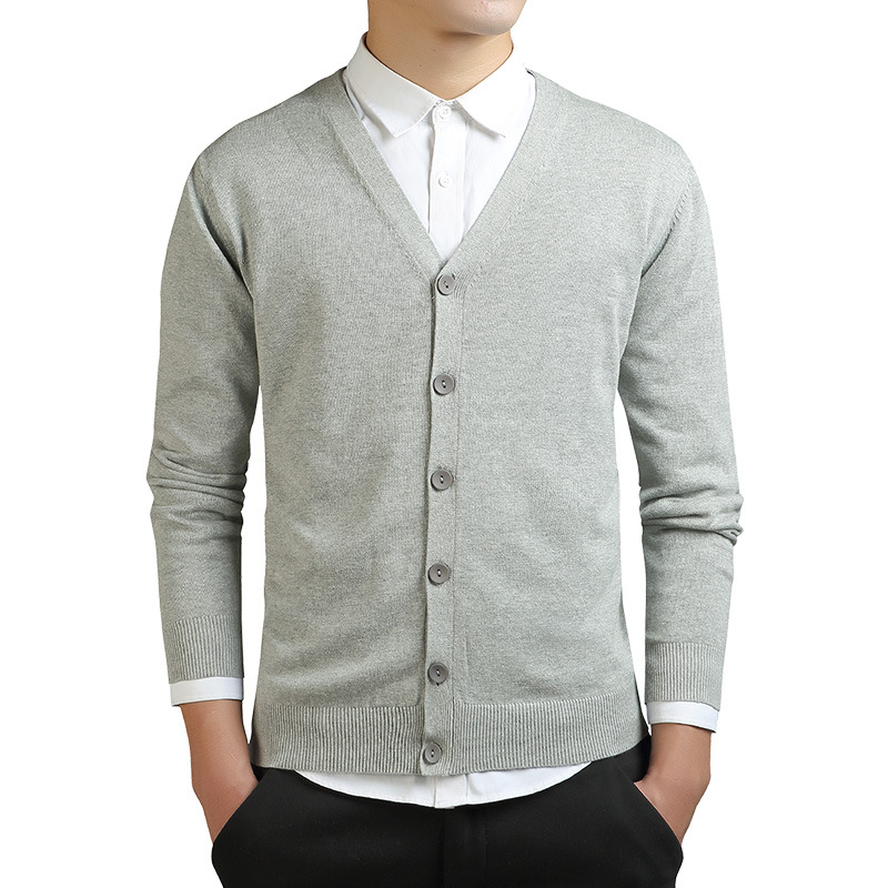 Autumn Long Sleeve Cardigan Men Knitted Oversized Ribbed Sweater Grey Casual Knitwear 3xl Male V-neck Slim Boys Cotton Sweaters