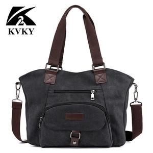 Image 5 - KVKY marka kadın keten çantalar çanta rahat kanvas omuz çantaları Vintage çapraz postacı çantası kadın bez çantalar trapez