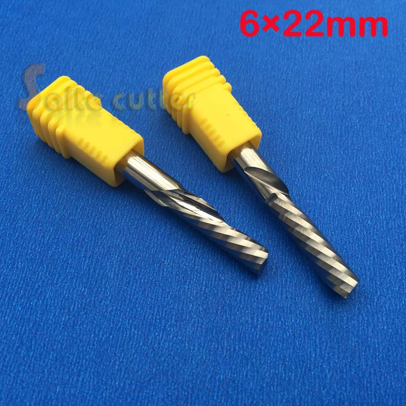 1pc left hand down cutter spiral single flute CNC router bits 6mm*22mm 3 175 12 0 5 40l one flute spiral taper cutter cnc engraving tools one flute spiral bit taper bits