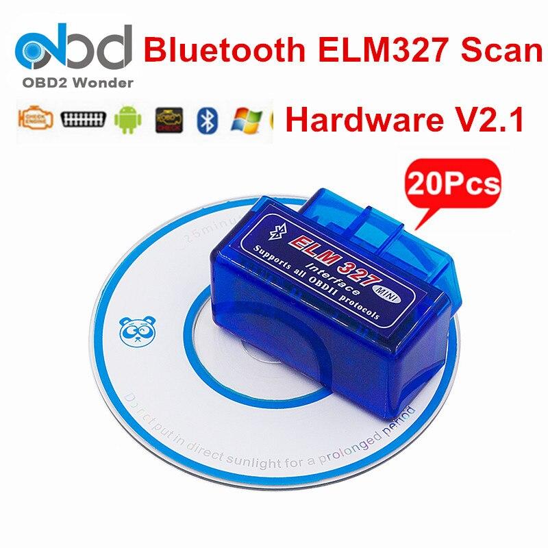 Prix pour 20 Pcs/Lot ELM327 Bluetooth Scanner ELM 327 OBD2 Lecteur de Code V2.1 Version Lire le Code de Défaut Clair Fonctionne Sur Android PC CNP livraison
