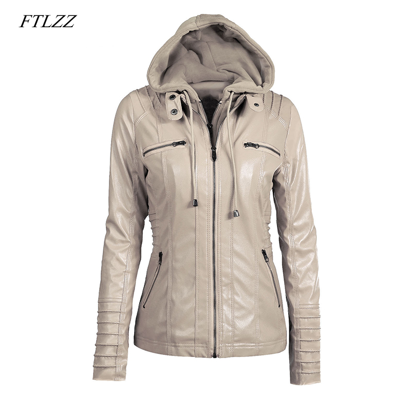 FTLZZ Plus Size 7XL Women Hooded Faux   Leather   Jacket Pu Motorcycle Hat Detachable Casual   Leather   Punk Outerwear