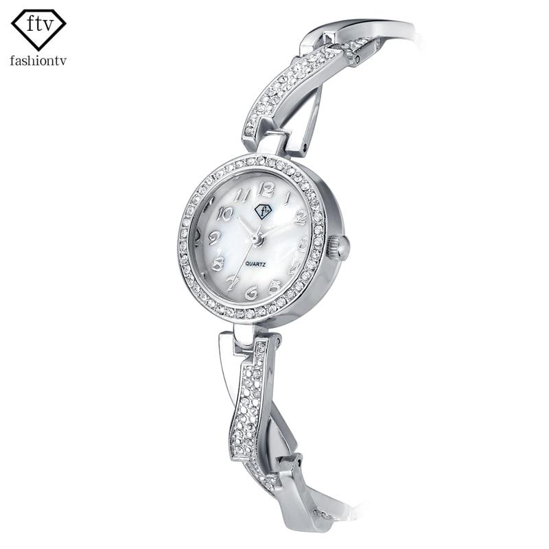 FTV Luxury Rhinestone Bracelet Watches Women Brand Fashion Silver Watches Ladies Wristwatch Quartz Clock Relogio Feminino 2018 ladies women watches 2017 fashion women rhinestone bracelet watches analog quartz wristwatch ladies clock relogio feminino