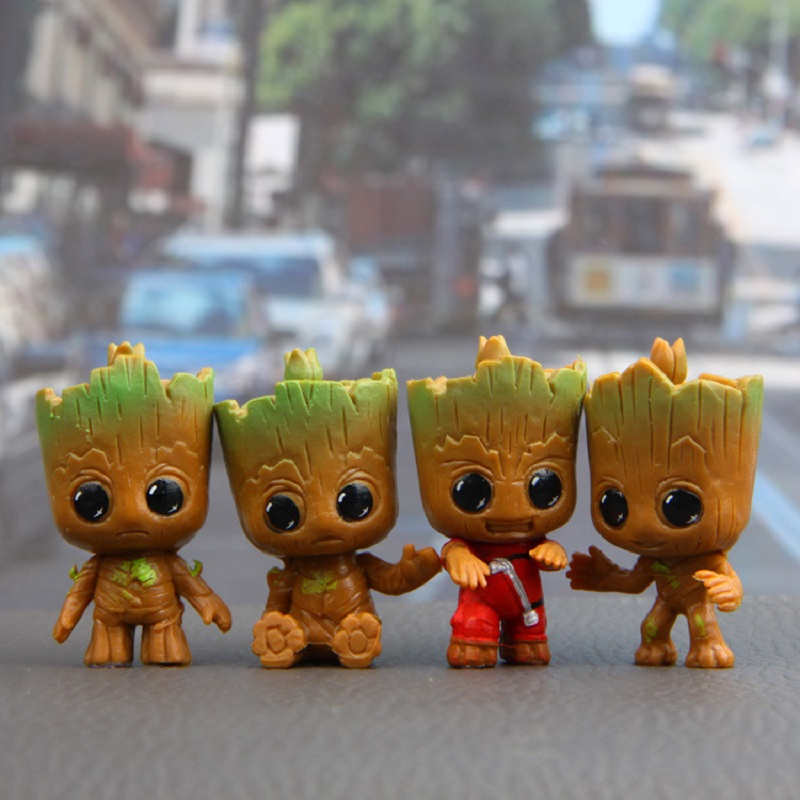 Marvel Movie Guardians Of The Galaxy 2 4pcs/set Brinquedos Mini Cute Baby Tree Man Dancing Model Action Toy Figure Car Ornaments