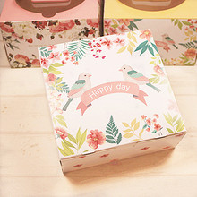Hot Sale 16.5*16.5*6.5cm10pcs Bird Cheese Cake Paper Box Cookie Container Food Packaging Wedding Christmas Baby Shower Use