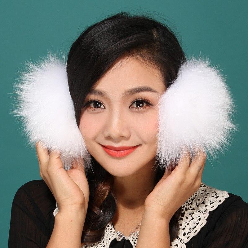2017 fall winter warm protect ear snow ear fashion T show same style Fox fur Ear muff warmers Fluffy Ear Muffs Headband