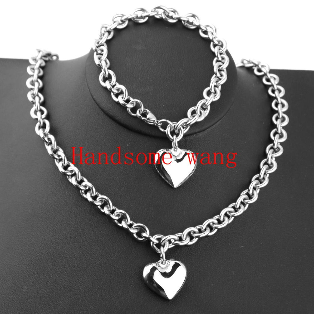 New Arrival <font><b>Women's</b></font> Silver <font><b>Stainless</b></font> <font><b>Steel</b></font> <font><b>Jewelry</b></font> Fashion Heart Necklace Bracelet <font><b>Set</b></font> (19.5inch+8inch) image