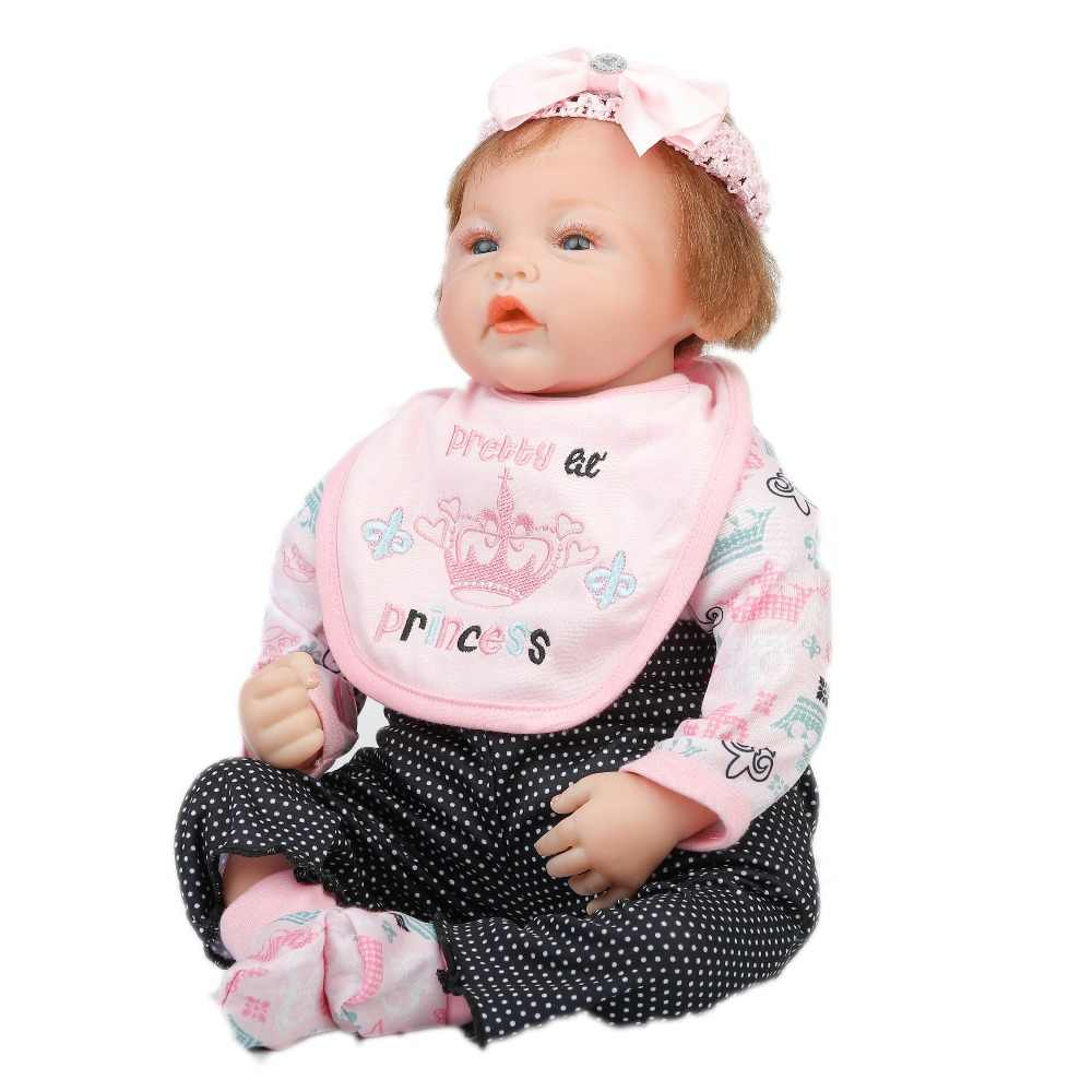22 дюймов 55 см Детские Возрожденный силикон куклы, реалистичные куклы Возрожденные красивые платья принцессы спящие куклы праздничные подарки C_08