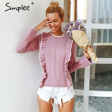 Simplee Side ruffles sweater women winter 2018 sweet Flare sleeve slim autumn sweater pullover O neck casual short female jumper