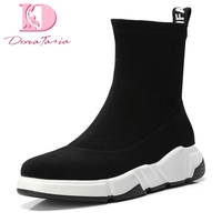 Doratasia Brand NEW New Fashion Slip On Hot Sale Autumn winter sneakers Boots Woman Shoes Women Black Mid Calf Boots Shoes Woman