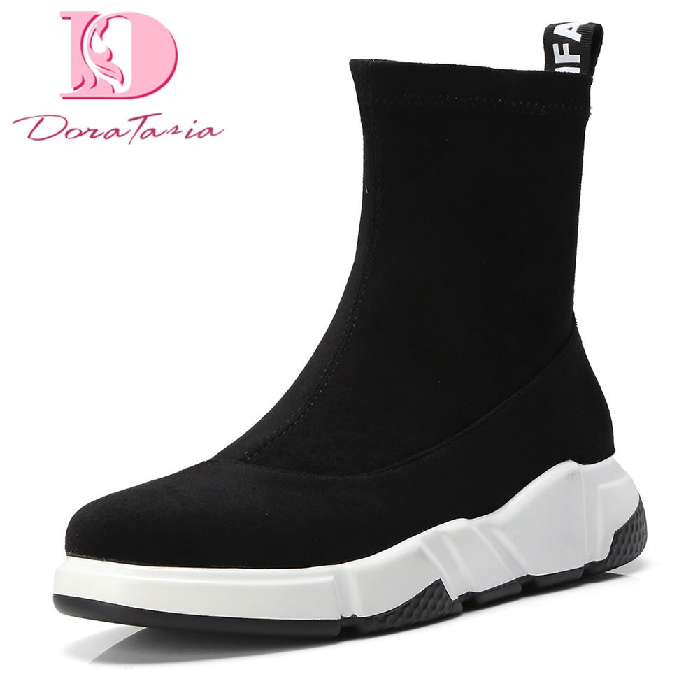Doratasia Brand NEW New Fashion Slip On Hot Sale Autumn winter sneakers Boots Woman Shoes Women Black Mid Calf Boots Shoes Woman doratasia 2018 lace up black white women boots woman shoes comfort flat heel wholesale hot sale mid calf boots shoes woman