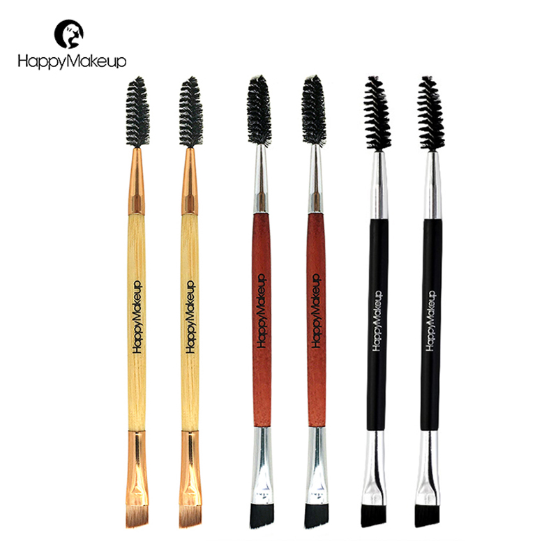 Happy Makeup 3pcs Pro Makeup Cosmetic Series Synthetic Hair Double Ended Brow Eyeliner and Spoolie Eyelashes Brush Brushes Sets cosmetic 2 pcs makeup set 2 colours double layer gel eyeliner and brow powder with double end brush