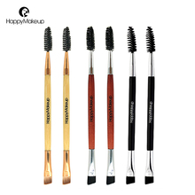 Happy Makeup 3pcs Pro Makeup Cosmetic Series Synthetic Hair Double Ended Brow Eyeliner and Spoolie Eyelashes Brush Brushes Sets