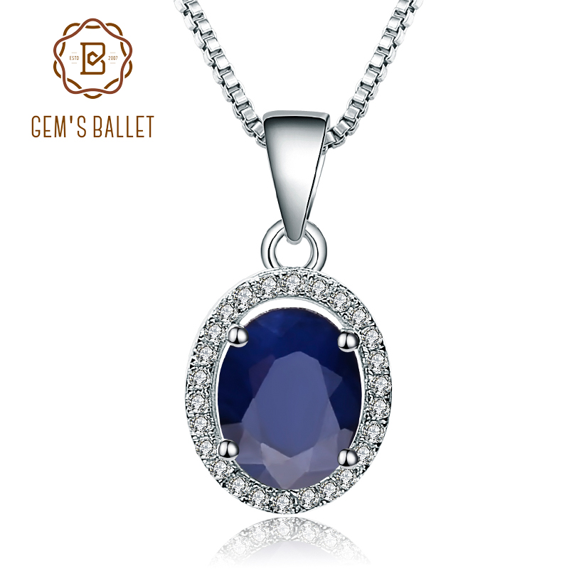 Gem's Ballet 925 Sterling Silver 2.02Ct Natural Blue Sapphire Gemstone Pendant Necklace For Women Fine Jewelry Drop Shipping