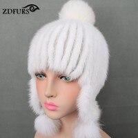 Glaforny 2017 New Genuine Mink Fur Hats Women Winter Fur Bomber Hats with Three Fox Fur Balls Warm Ear Protector Fur Caps