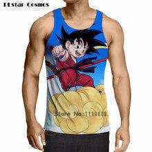 Plstar hombres mujeres verano Hipster Tops Camisetas Tees brillante cielo  azul Goku Camisetas de tirantes anime 00c356a4a2291