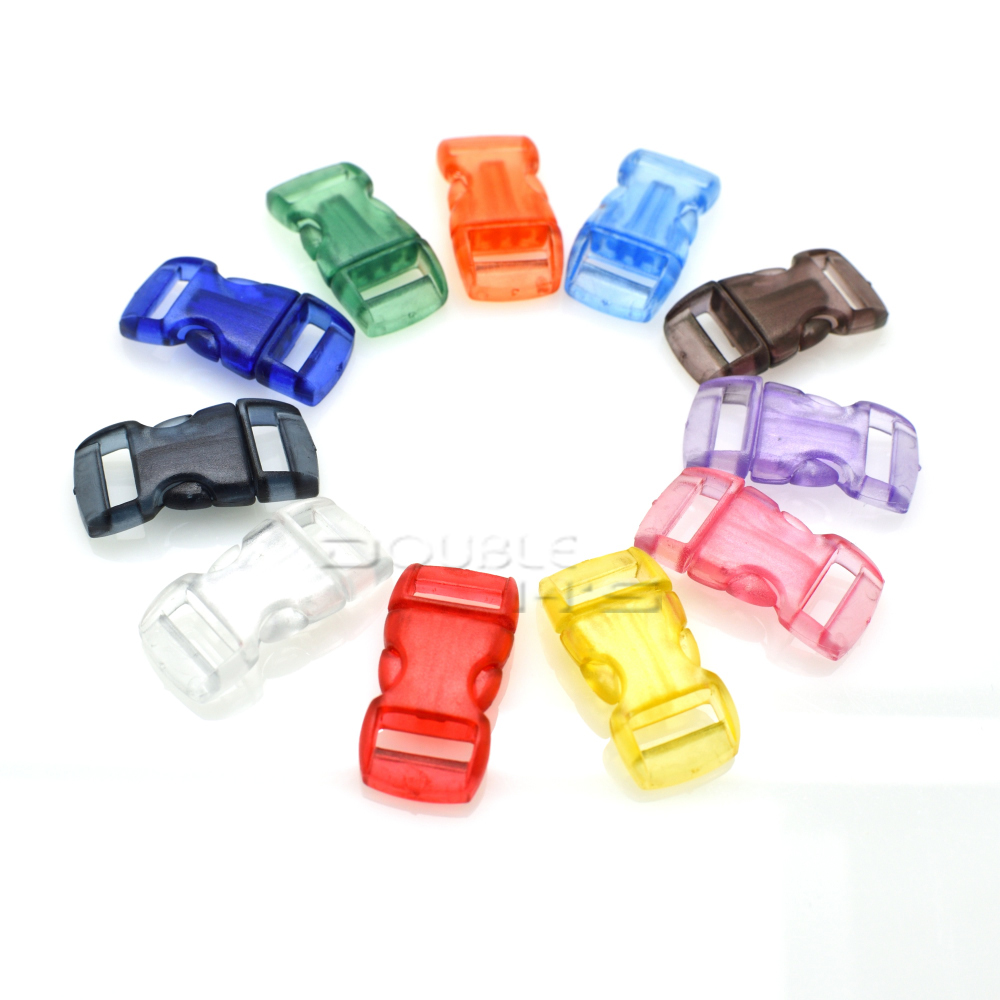 10mm 3/8 jelly Clear Colorful Curved Side Release Mini Buckles For Paracord Bracelet/cat Collars Good For Antipyretic And Throat Soother